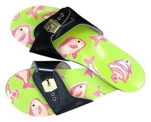 Dr. Scholl's lime green and hot pink with black patent leather buckle Sandals