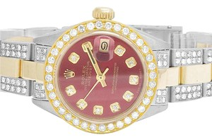 Rolex Ladies Datejust Two Tone 18K/Steel Oyster 26MM Red Dial Diamond 6 Ct