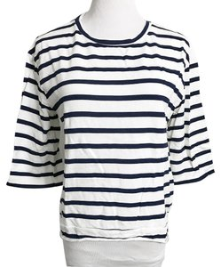 dff7bb0dac02f Zara Trafaluc Nautical Striped Cotton T-shirt T Shirt White
