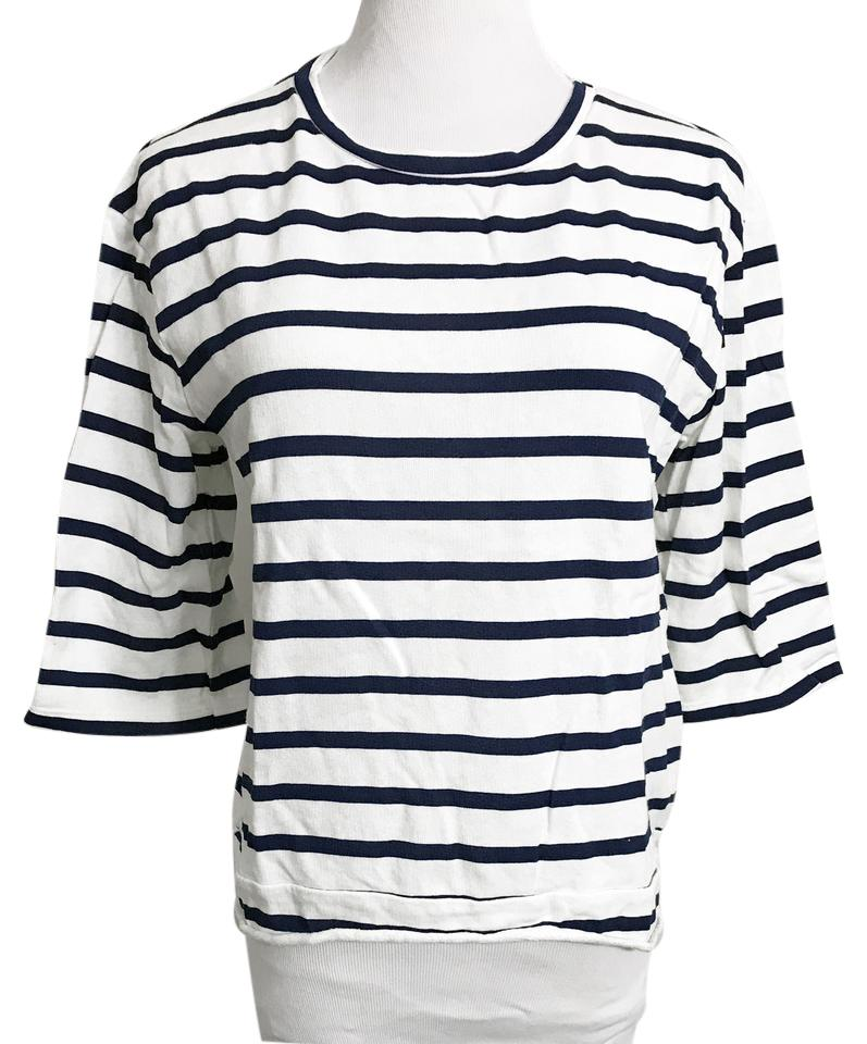 9251a465a71 Zara White Navy Blue Trafaluc Nautical Striped Cotton T-shirt Tee ...