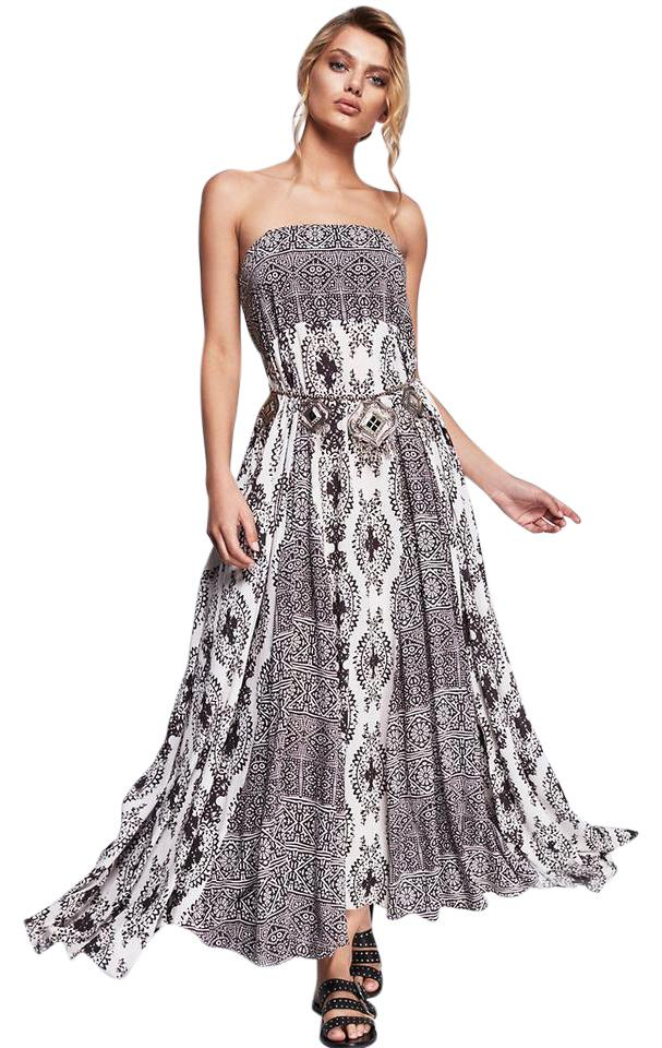 1589c89aeac Black   White Maxi Dress by Free People Maxi Strapless Print Image 0 ...