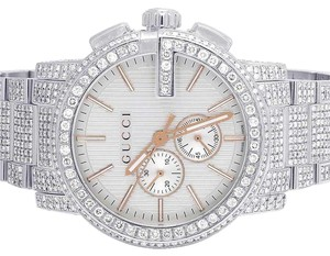 8dc2eedb755 Gucci Full Mens 44MM 101 G-Chrono Silver Dial Diamond Watch YA101204 12.5 Ct
