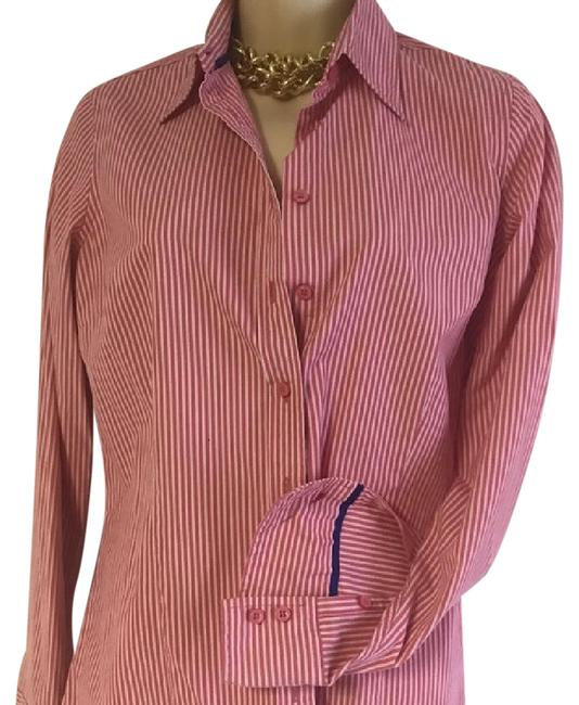 Item - Tailored Striped Shirt Red White Us Button-down Top Size 6 (S)