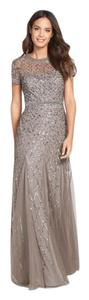 Adrianna Papell Lead Beaded Cap-sleeve Gown Item #04517876 Formal Bridesmaid/Mob Dress Size Petite 10 (M)