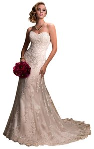 Maggie Sottero Ivory Lace with Emma Traditional Wedding Dress Size 2 (XS)