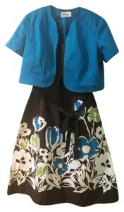 Studio One Floral Two Piece Set Flowers Blue White Dress