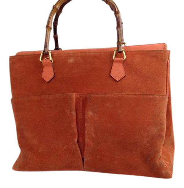 Item - Vintage Purses/Designer Purses Burnt Orange Suede with Leather Bamboo Handles Satchel