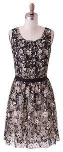 Mystree Modcloth Gold Ruche Floral Dress