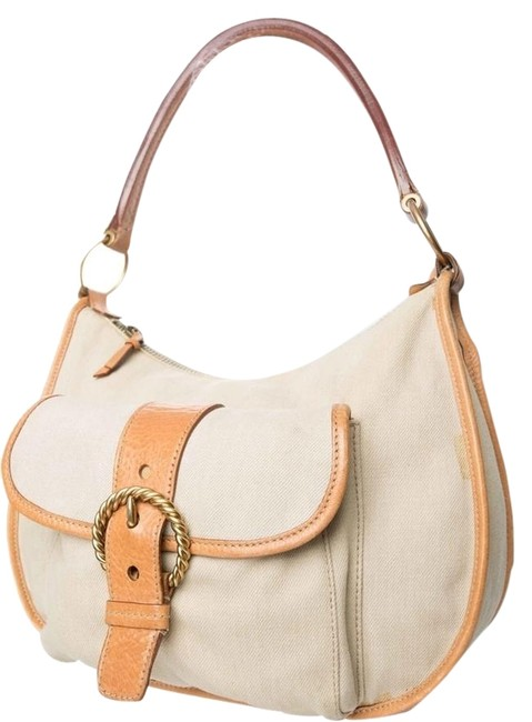Miu Miu Tan Canvas Hobo Bag Miu Miu Tan Canvas Hobo Bag Image 1