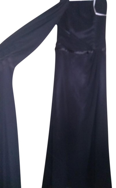 Item - Black Strapless Evening with Sheer Scarf Long Formal Dress Size 10 (M)