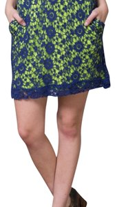 Knitted Dove Mini Skirt Blue/Green