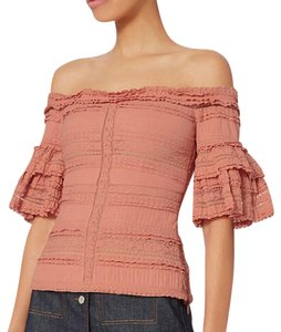 Cinq à Sept Off-the-shoulder Off The Shoulder Ruffle Caroline Costa Lace Ruffle Top Coral Pink