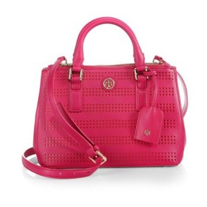 d3a5a6116607 Tory Burch Robinson Saffiano Perforated Satchel Micro Tote in Pink