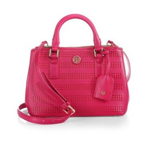 Tory Burch Robinson Perforated Micro Saffiano Satchel in Pink