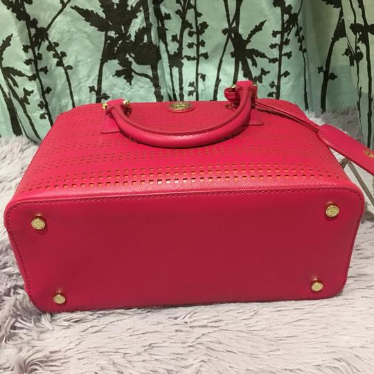 Tory Burch Robinson Perforated Micro Saffiano Satchel in Pink Image 10