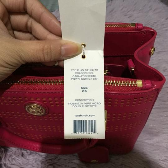 Tory Burch Robinson Perforated Micro Saffiano Satchel in Pink Image 11
