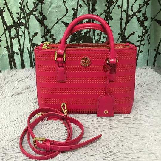 Tory Burch Robinson Perforated Micro Saffiano Satchel in Pink Image 4