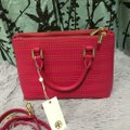 Tory Burch Robinson Perforated Micro Saffiano Satchel in Pink Image 5