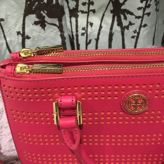 Tory Burch Robinson Perforated Micro Saffiano Satchel in Pink Image 7