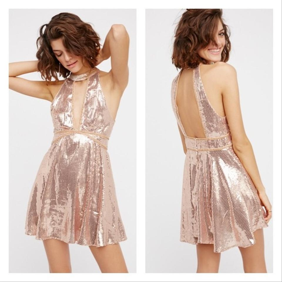 Free People Rose Gold Film Noir Sequin Mini Short Cocktail Dress ...