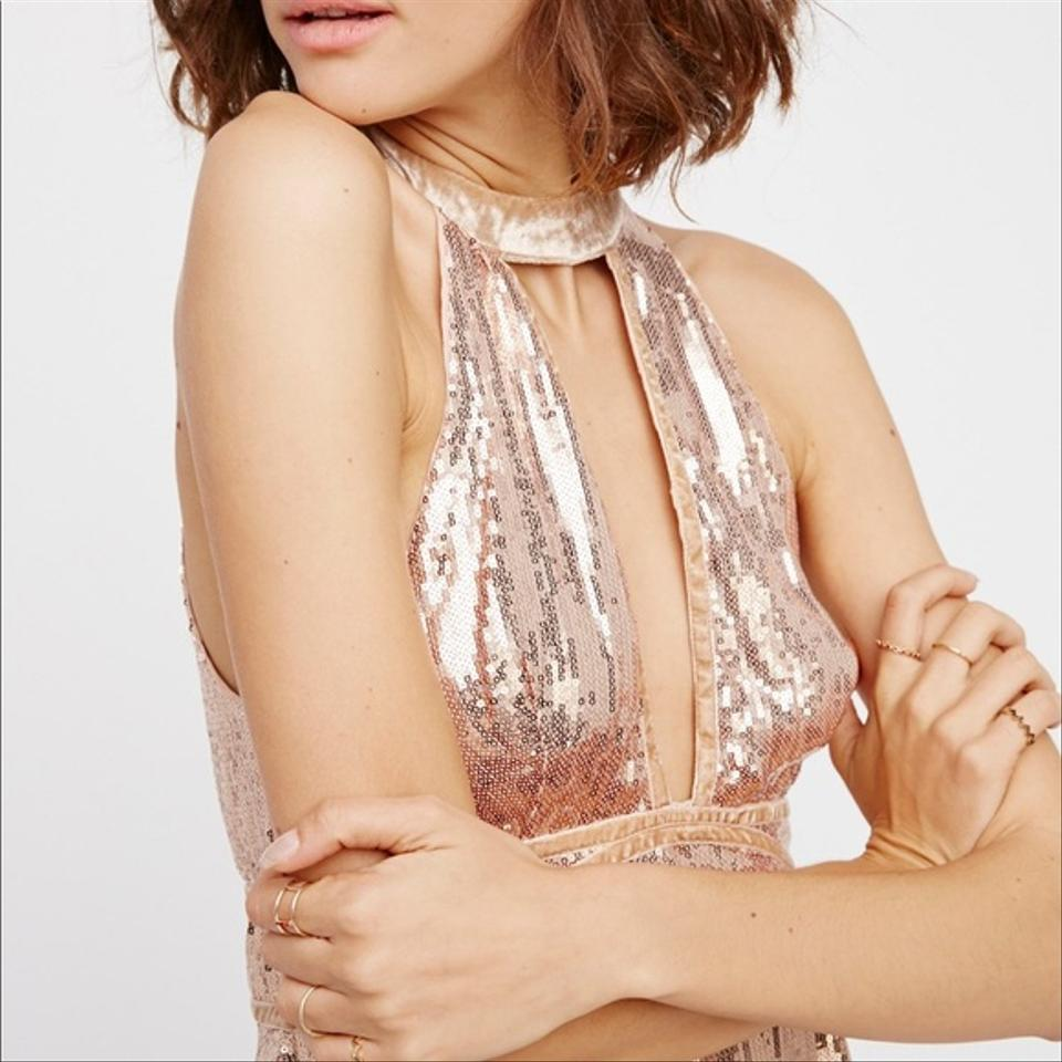 96d77239f646 Free People Rose Gold Film Noir Sequin Mini Short Cocktail Dress Size 4 (S)  - Tradesy