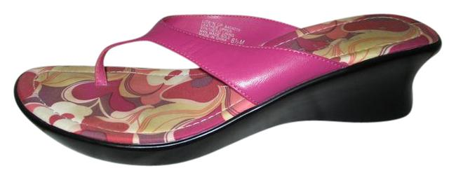 Item - Pink Leather Thong Wedge Sandals Size US 6.5 Regular (M, B)