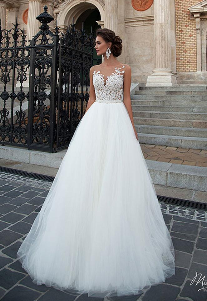 MillaNova Off White Lace Tulle Chelsi Formal Wedding Dress Size 8 (M ...