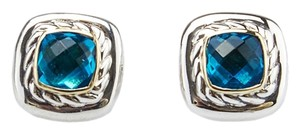 David Yurman David Yurman Sterling Silver 925 & 18K Blue Topaz 4mm Stud Earrings (35824)