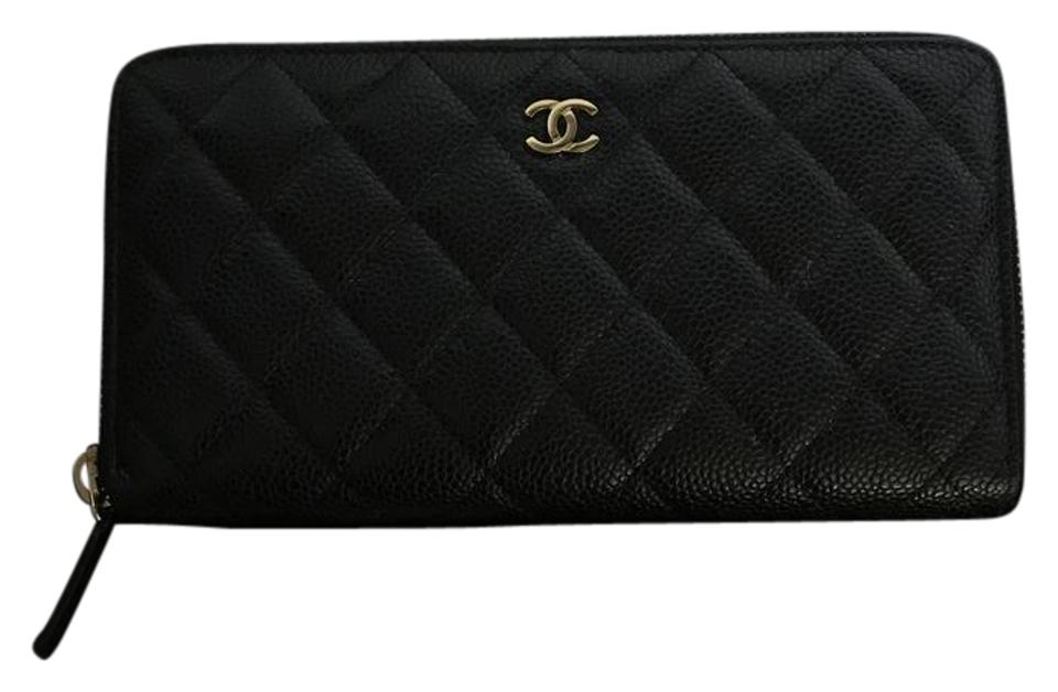 5a1299c717f3 Chanel Black/ Gold Hardware Classic Zip Around Wallet - Tradesy