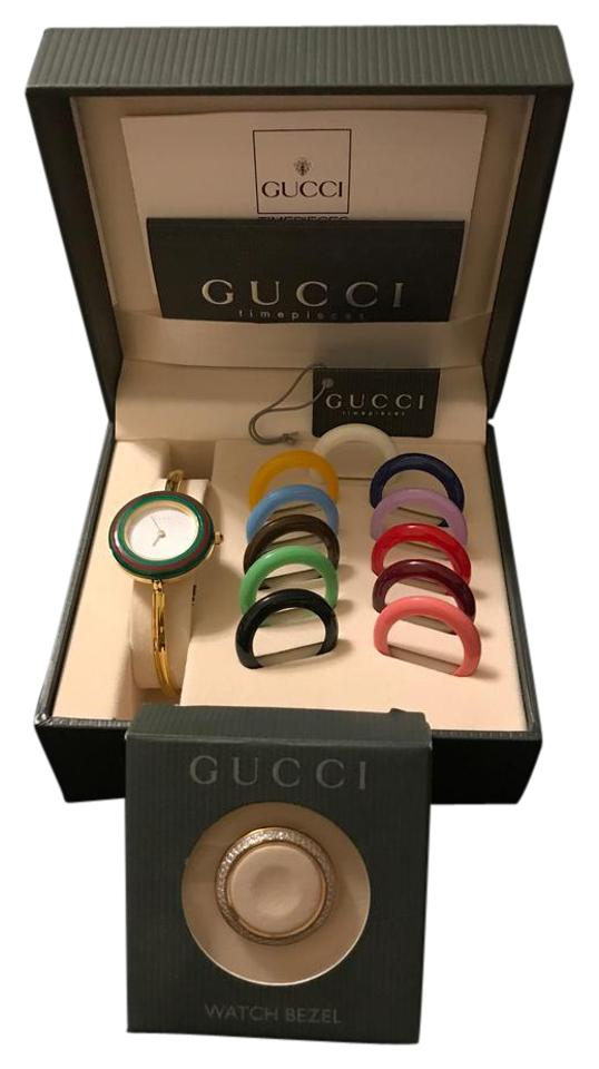 ab660e8a931 ... bezel women 039 · gucci gucci gold bracelet watch w interchangeable  bezels has box tags ...