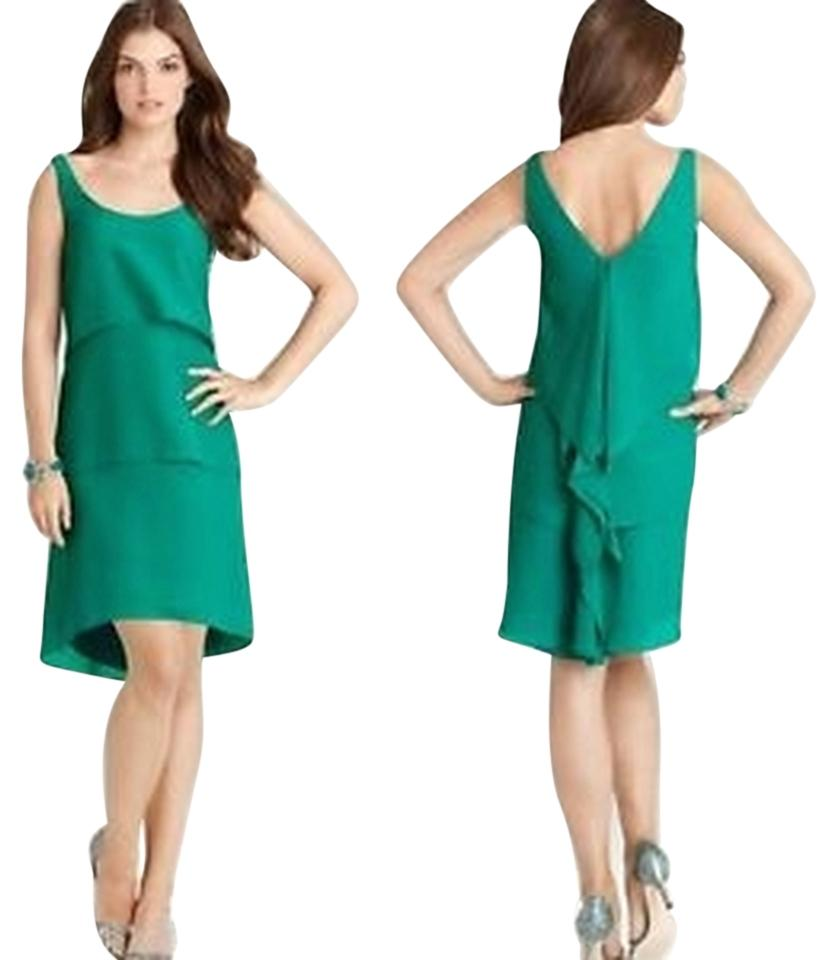 Ann Taylor Short Dress Green High Low Chiffon Size 4 6 Holiday On Tradesy