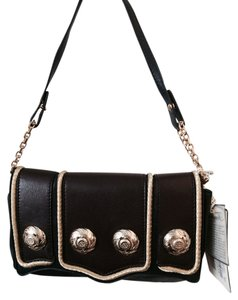 Temperley London Regal Leather Hardware Chain Studded Braiding Navy, Brown, Gold Clutch