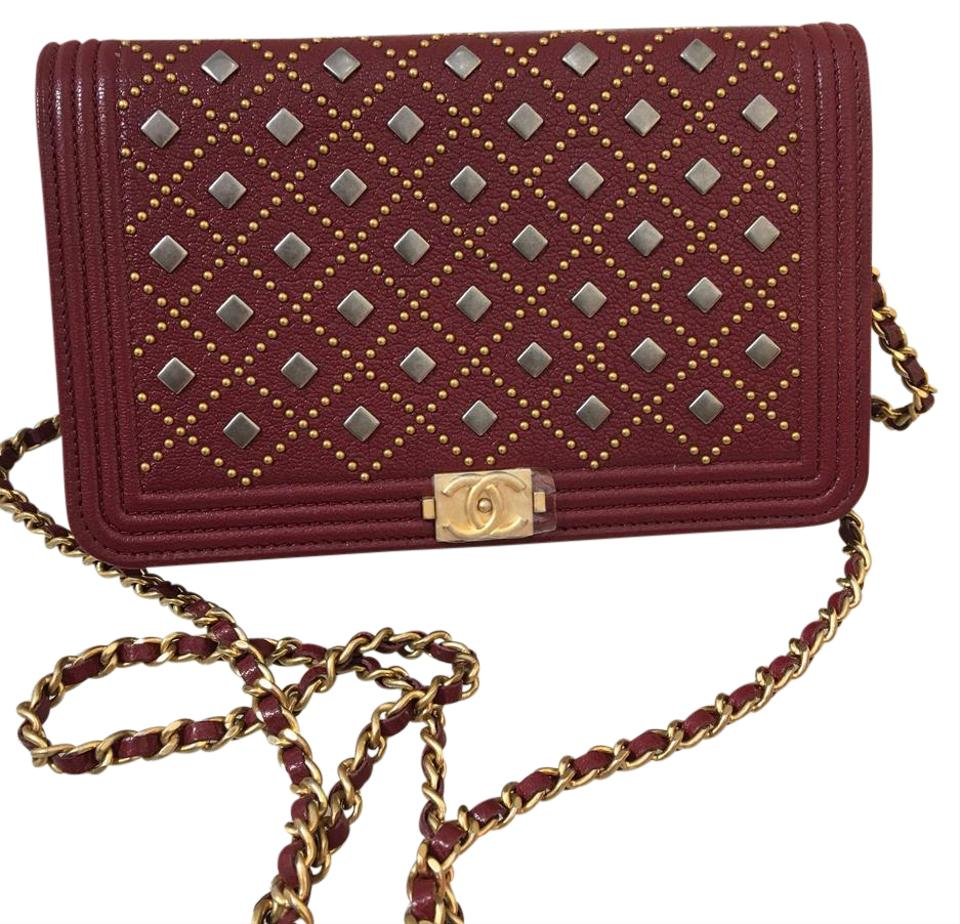 37012ec0ef31 Chanel Wallet on Chain Boy 17a Bn Studded Burgundy Caviar Cross Body ...