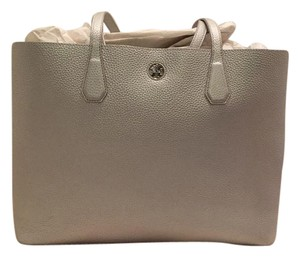 Tory Burch Perry Pebbled Leather Tote in Silver