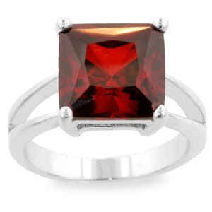 Kate Bissett Deep Red Cubic Zirconia Cocktail Ring, Silver, Size 7