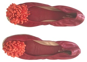 Kate Spade Red with coral Pom Pom Flats