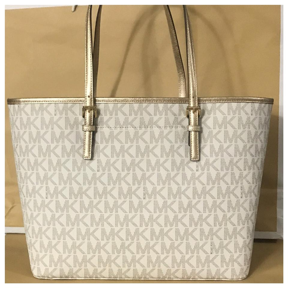8afeded0a96269 ... clearance michael kors mk jet set travel large carryall vanilla pale  gold tote c2d6f 4d354