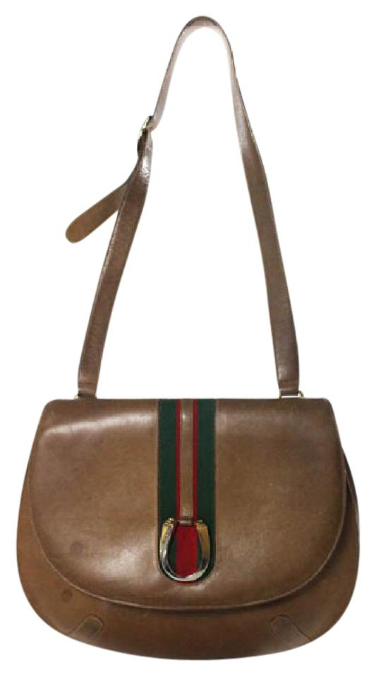 info for good out x watch Gucci Vintage Purses/Designer Purses Tan/Medium Brown Leather with  Red/Green Center Stripe and Elaborate Gold Horse Shoe Accent Clasp Shoulder  Bag
