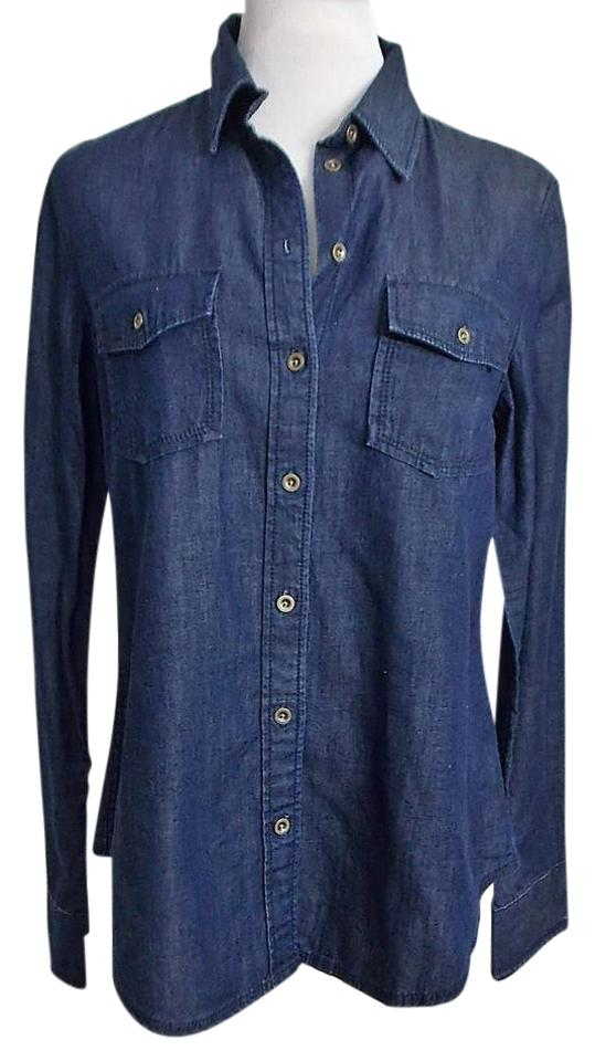 Banana Republic Denim Shirt Chambray Western New On Down Blue