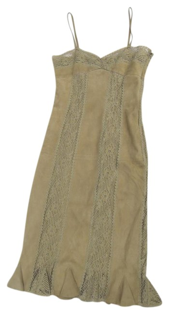 Item - Tan Boutique Leather And Short Cocktail Dress Size 4 (S)