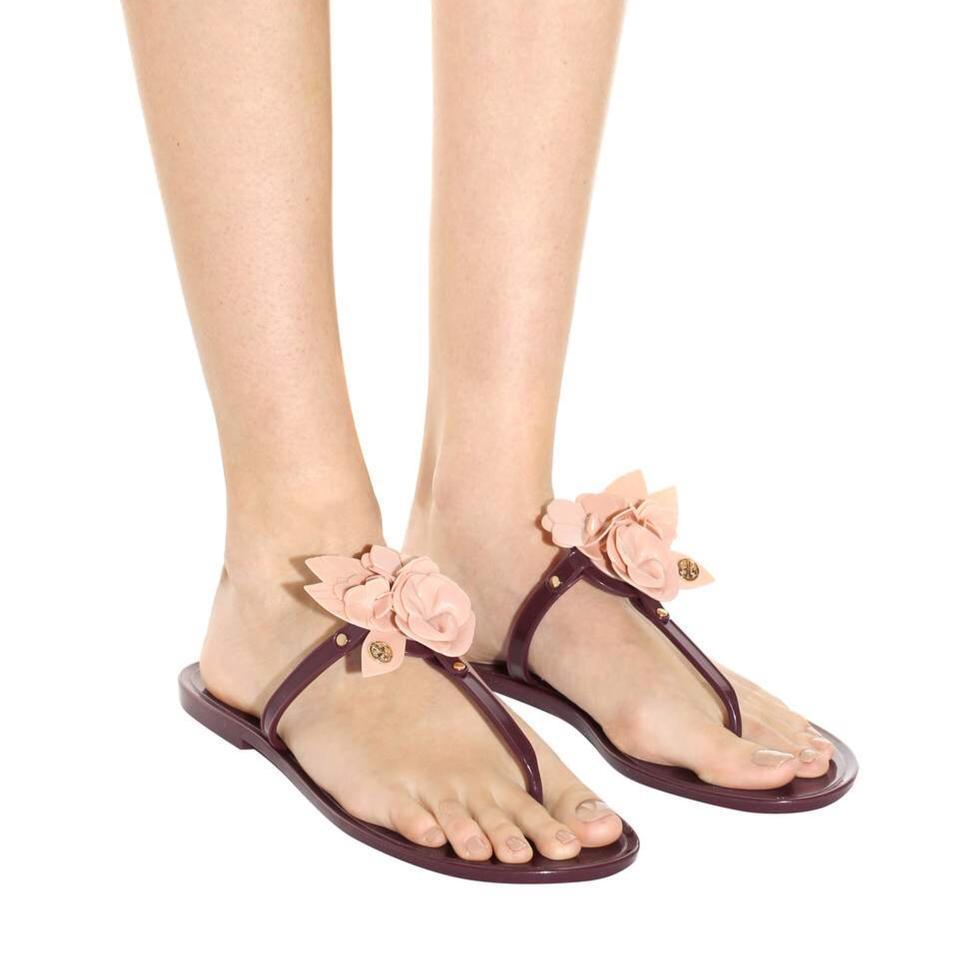 92d8571c0 Tory Burch Port Royal Victorian Rose Blossom Jelly Thong Sandals ...