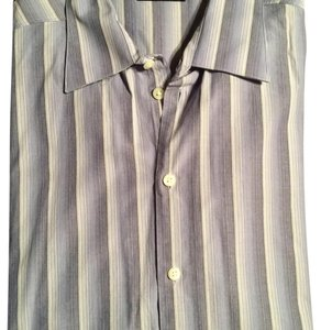 Kenneth Cole Button Down Shirt Dark blue, light blue and white