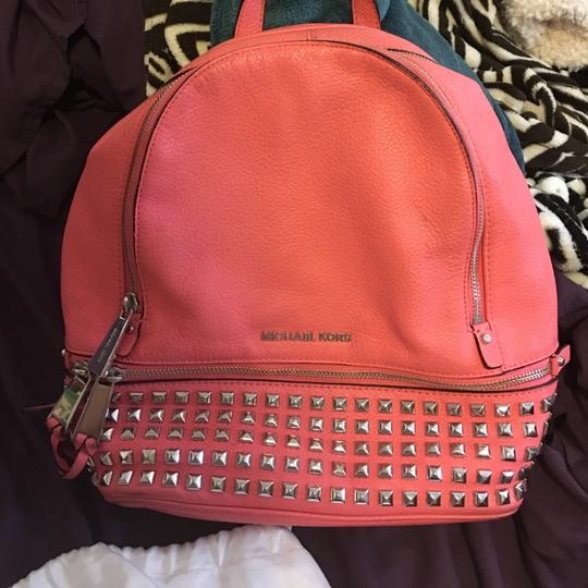6e58401767be8a Michael Kors Studded Coral Leather Backpack - Tradesy