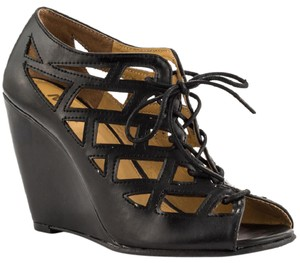 Mia Shoes Lace Up Bootie Cut-out Cage Black Wedges