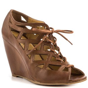 Mia Shoes Lace Up Bootie Cut-out Cage Brown Wedges