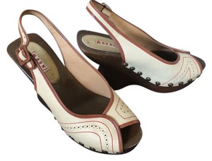 Marni Leather Heeled Cream red brown Wedges