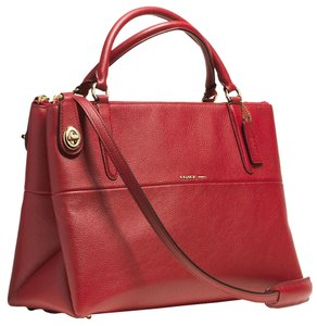 Coach Turnlock Borough Pebbled Leather Shoulder 33731 Satchel in Red Current