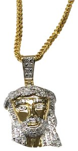 Other 10 K Yellow Gold Franco Chain with Diamond Jesus Head Pendant for Men