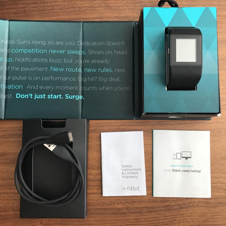 Fitbit Black Surge Size Small Gps Heart Rate Smart Watch Tech