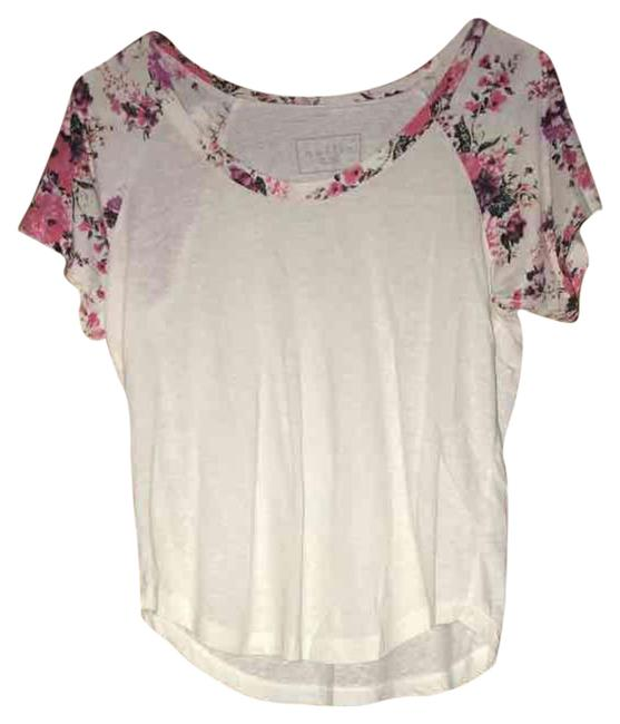 Item - Floral and White Tee Shirt Size 4 (S)